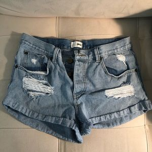 Ripped Denim Jean Shorts